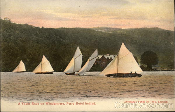 A Yacht Race on Windermere, Ferry Hotel behind. Browness England