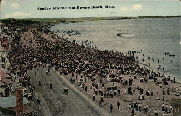 Beach-Goers on a Sunday Afternoon Revere Beach Massachusetts