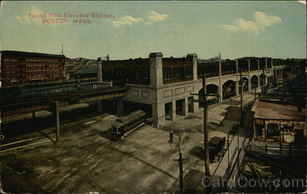 Bird's Eye View of Forest Hills Elevated Station Boston Massachusetts