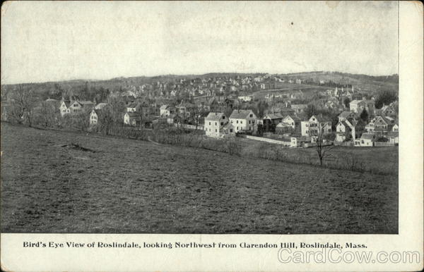 Bird's Eye View looking Northwest from Clarendon Hill Roslindale Massachusetts