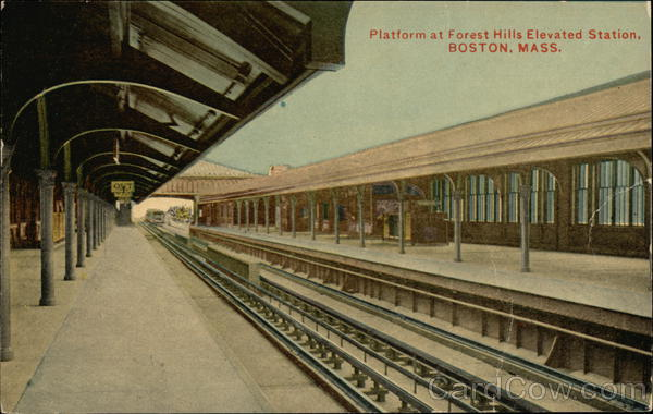 Platform at Forest Hills Elevated Station Boston Massachusetts