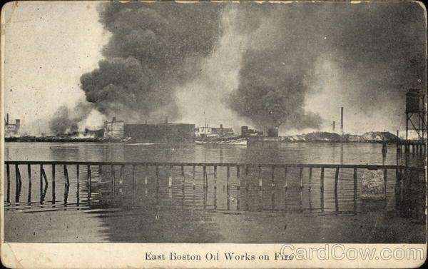 East Boston Oil Works on Fire Massachusetts