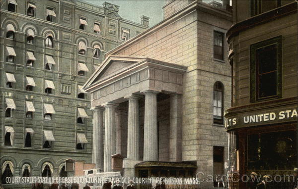 Court Street Station of East Boton Tunnel and Old Court House Boston Massachusetts