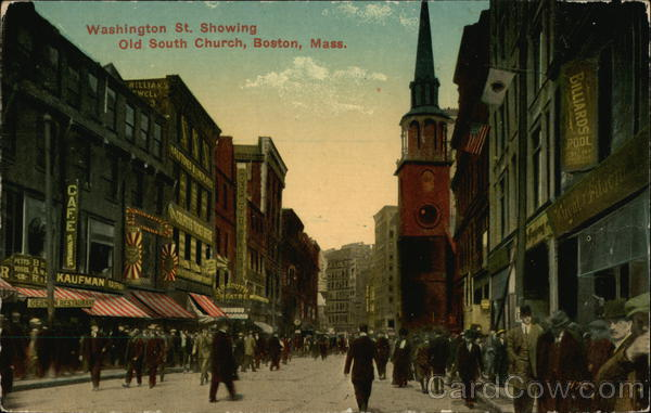 Washington Street Showing Old South Church Boston Massachusetts