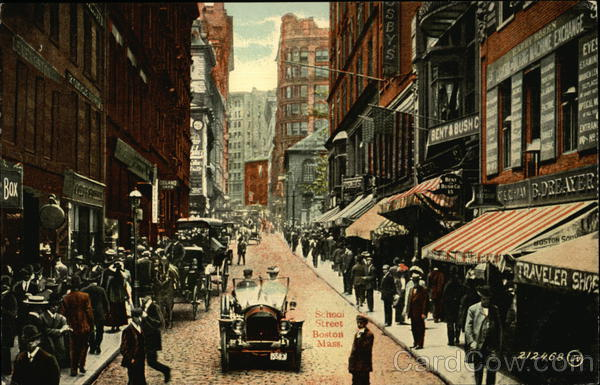 Busy School Street Boston Massachusetts James Valentine