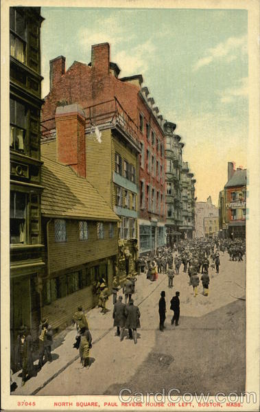 North Square, Paul Revere House on Left Boston Massachusetts