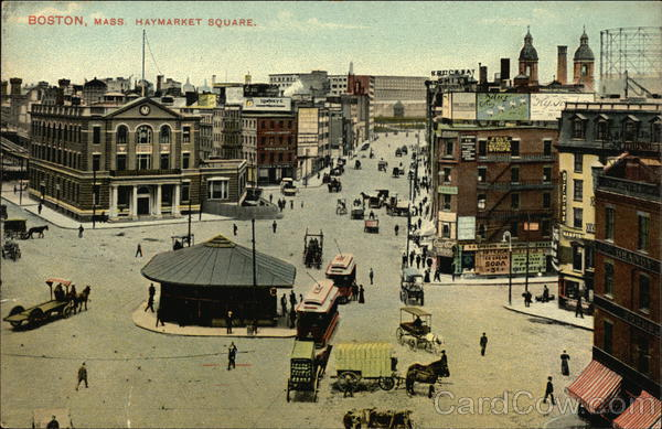 Bird's Eye View of Haymarket Square Boston Massachusetts