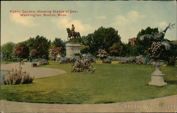 Public Garden, showing Statue of George Washington Boston Massachusetts