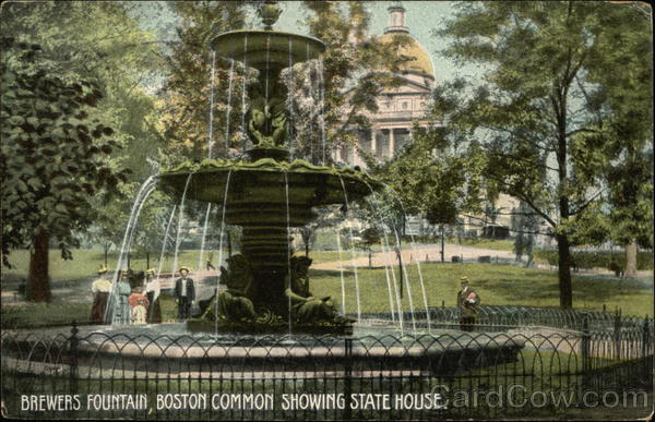Brewers Fountain, Boston Common Showing State House Massachusetts