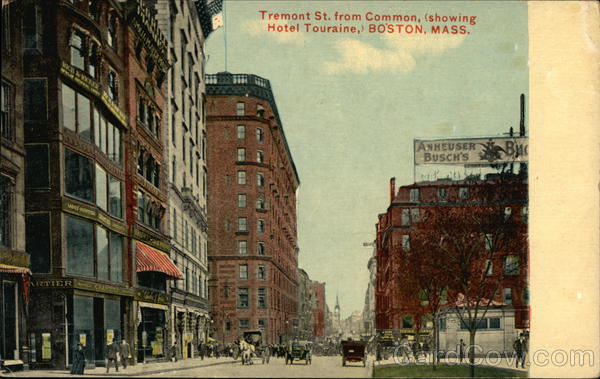 Tremont Street from Common, Showing Hotel Touraine Boston Massachusetts