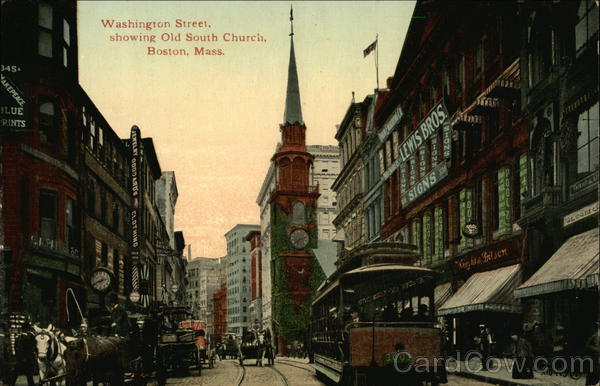 Washington Street, showing Old South Church Boston Massachusetts