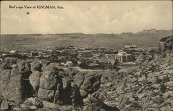 Bird's Eye View of Rock Formations and Town