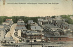 Panoramic View of Forest Hills looking East from Arborway Court Postcard