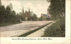 Entrance to Forest Hills Cemetery Postcard