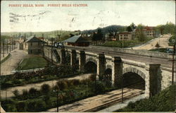 Bird's Eye View of Forest Hills Station Postcard