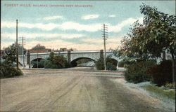 Forest Hills, Railroad Crossing Over Boulevard Postcard