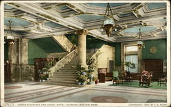 Grand Staircase and Lobby, Hotel Touraine, Boston, Mass. Postcard