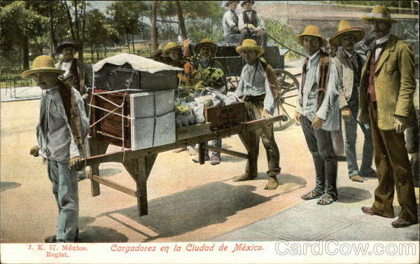 Porters with Hand Cart Mexico City