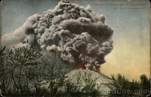 Eruption of Mount Vesuvius - April 10th, 1906 Naples Italy