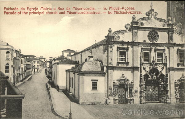 Facade of the Matriz Church and Misericordia Street Azores Portugal
