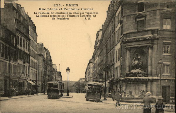 Rue Linne et Fontaine Cuvier Paris France
