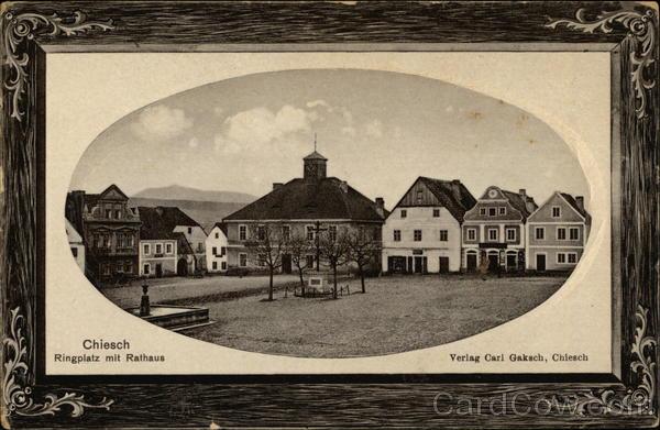 Ringplatz mit Rathaus Chiesch Czechoslovakia Eastern Europe