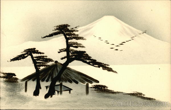 Japanese Hand Drawn Mountain Lacquer Art