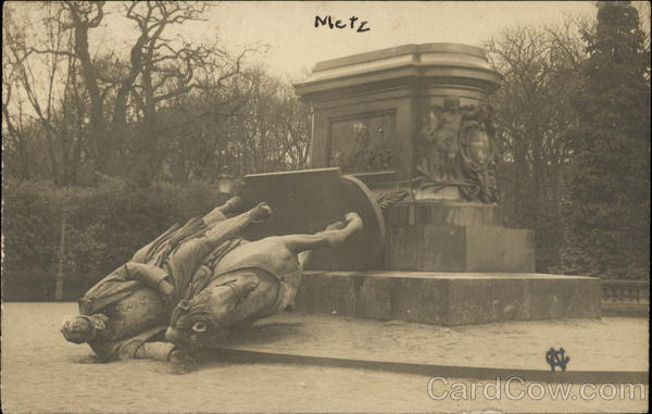 Toppled Statue of Man on Horse Metz France