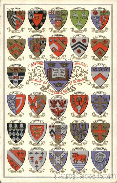 Oxford University - Arms of the Colleges of Oxford England