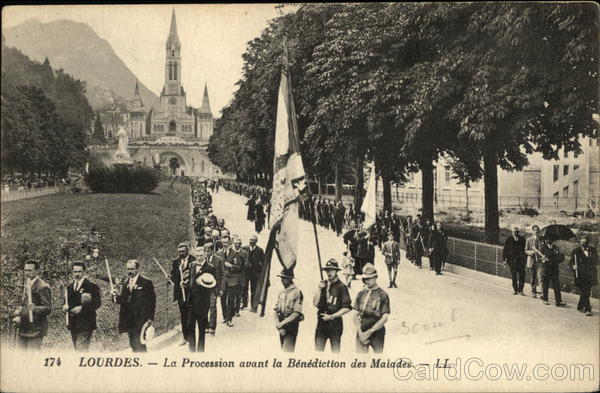 Procession before the Benediction des Malades Lourdes France