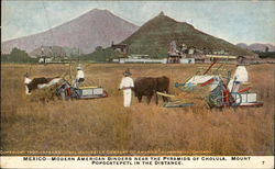 Mexico - Modern American Binders near the Pyramids of Cholula. Mount Popocatepetl in the Distance.