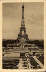 Trocadero Gardens and the Eiffel Tower Postcard