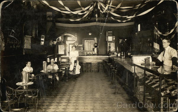 Interior of Soda Fountain & Cigar Shop Rockford Ohio
