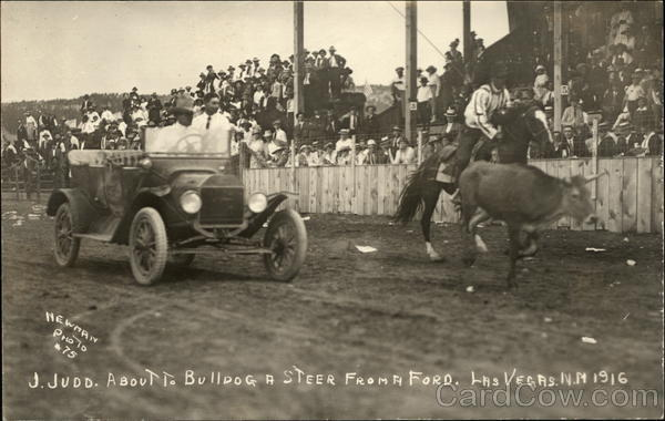 J. Judd about to Bulldog a Steer from a Ford - 1916 Las Vegas New Mexico