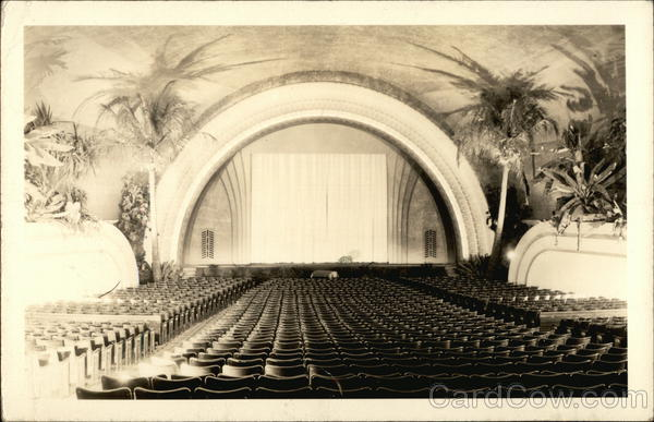 Empty Seats and Stage with Palm Trees in Hawaii Theatre