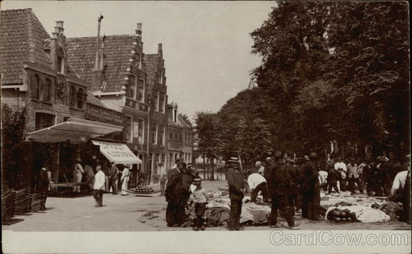 Black and white photo of market scene Netherlands Benelux Countries