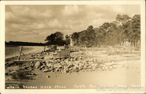 Where Houses once stood on Swifts Beach Wareham Massachusetts