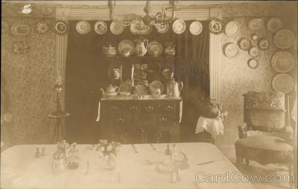 Dining Room with Plates Hanging on Wall Milford Massachusetts
