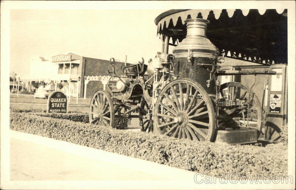 Old Horse-Drawn Fire Engine, Service Station Firemen
