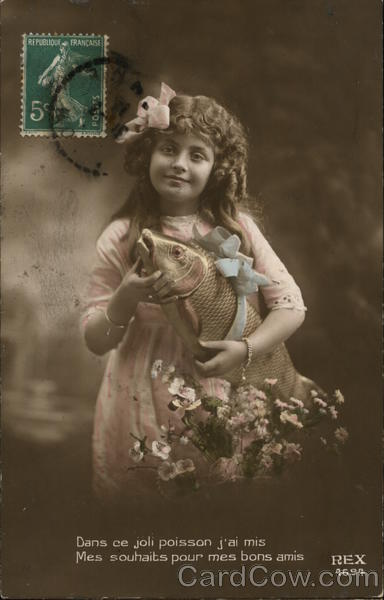 Portrait of Girl Holding Fish Girls