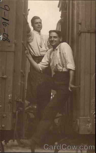 Two Men Hitching Ride On Rail Cars Trains, Railroad
