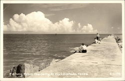 Fishing From the Jetty at Port Arkansas Postcard