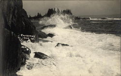 Ocean Waves Crashing on the Rocks in Maine Postcard