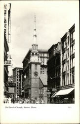 Street View of Old South Church Postcard
