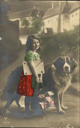 Young Girl with St. Bernard Dog