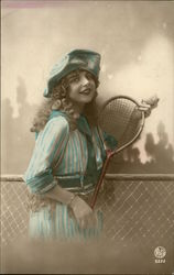 Young Girl Holds Tennis Racket And Ball Postcard