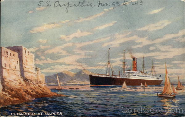 Cunarder at Naples Italy