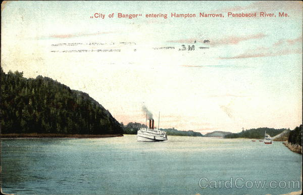 City of Bangor Entering Hampton Narrows Penobscot River Maine