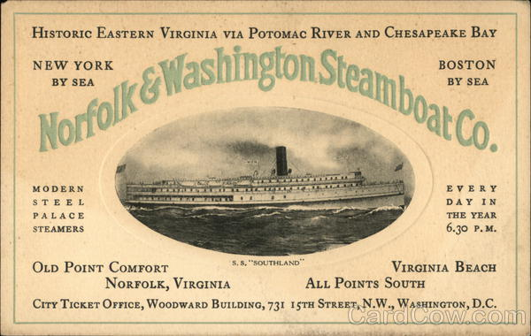 SS Southland, Norfolk & Washington Steamboat Co. District of Columbia