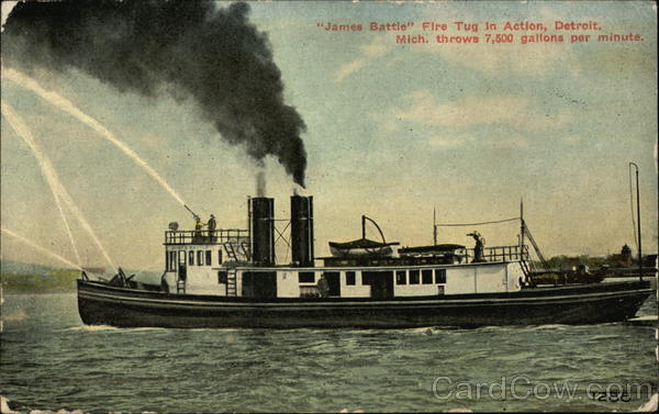 James Battle' Fire Tug in Action Detroit Michigan